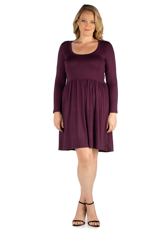 24seven Comfort Apparel Black Floral Print Long Sleeve Pleated Plus Size Dress-DRESSES-24Seven Comfort Apparel-PLUM-1X-24/7 Comfort Apparel