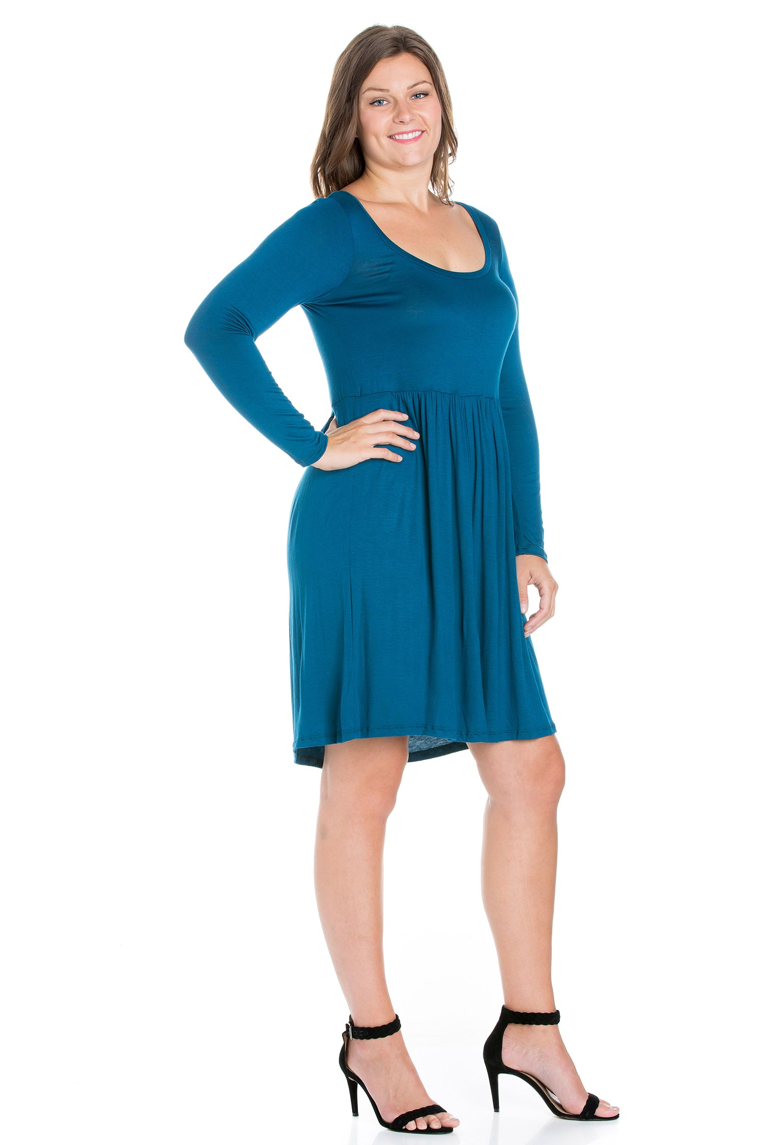 24seven Comfort Apparel Black Floral Print Long Sleeve Pleated Plus Size Dress-DRESSES-24Seven Comfort Apparel-TEAL-1X-24/7 Comfort Apparel