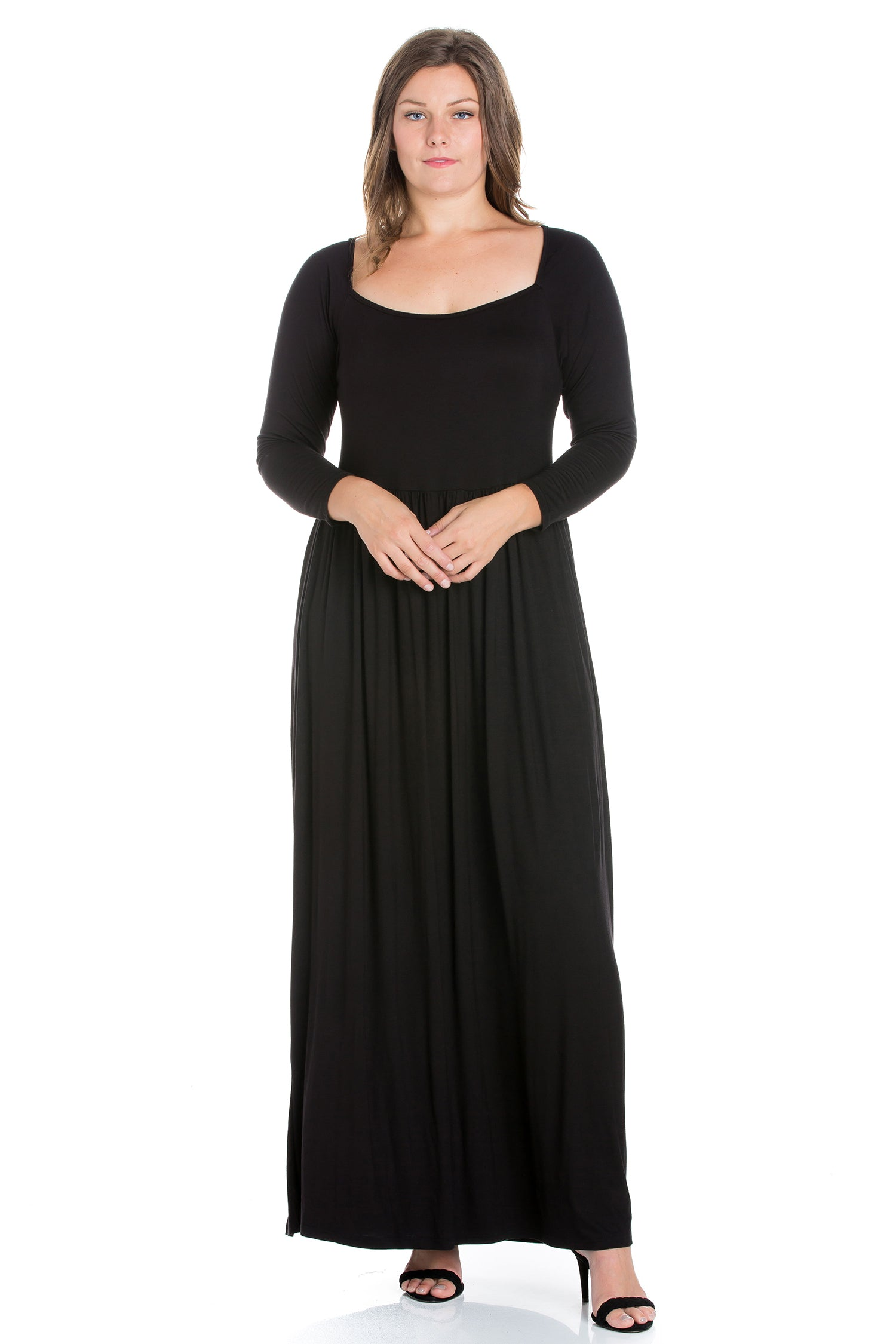 24seven Comfort Apparel Empire Waist Long Sleeve Plus Size Maxi Dress-DRESSES-24Seven Comfort Apparel-BLACK-1X-24/7 Comfort Apparel
