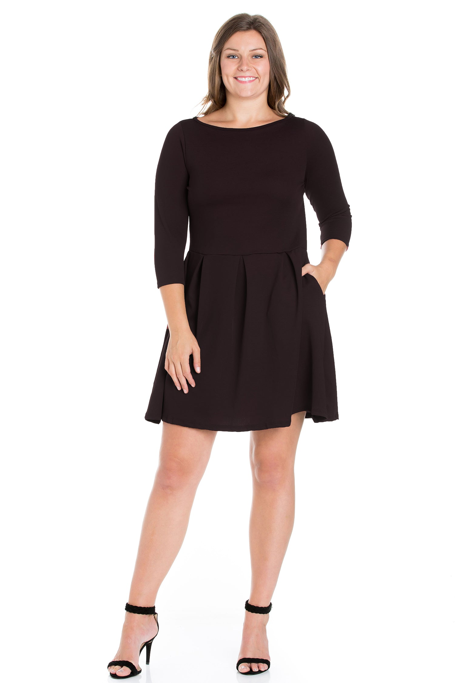 24seven Comfort Apparel Perfect Fit and Flare Plus Size Pocket Dress-DRESSES-24Seven Comfort Apparel-BLACK-1X-24/7 Comfort Apparel