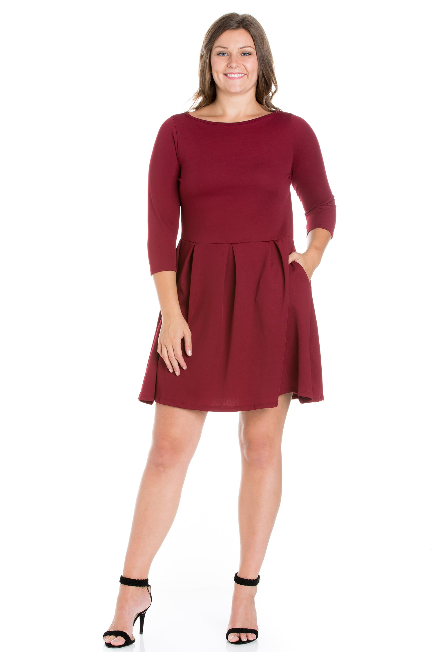 24seven Comfort Apparel Perfect Fit and Flare Plus Size Pocket Dress-DRESSES-24Seven Comfort Apparel-BURGUNDY-1X-24/7 Comfort Apparel
