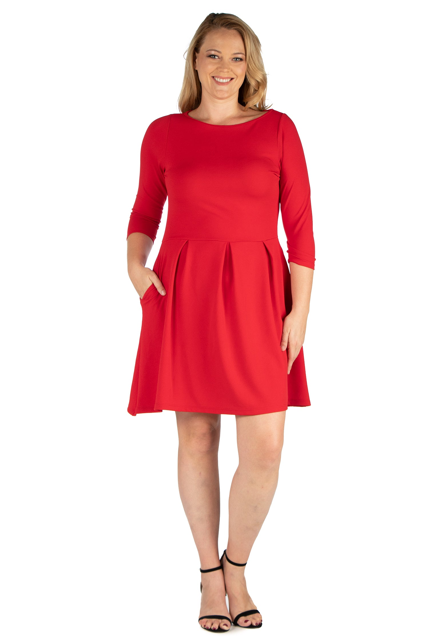24seven Comfort Apparel Perfect Fit and Flare Plus Size Pocket Dress-DRESSES-24Seven Comfort Apparel-RED-1X-24/7 Comfort Apparel