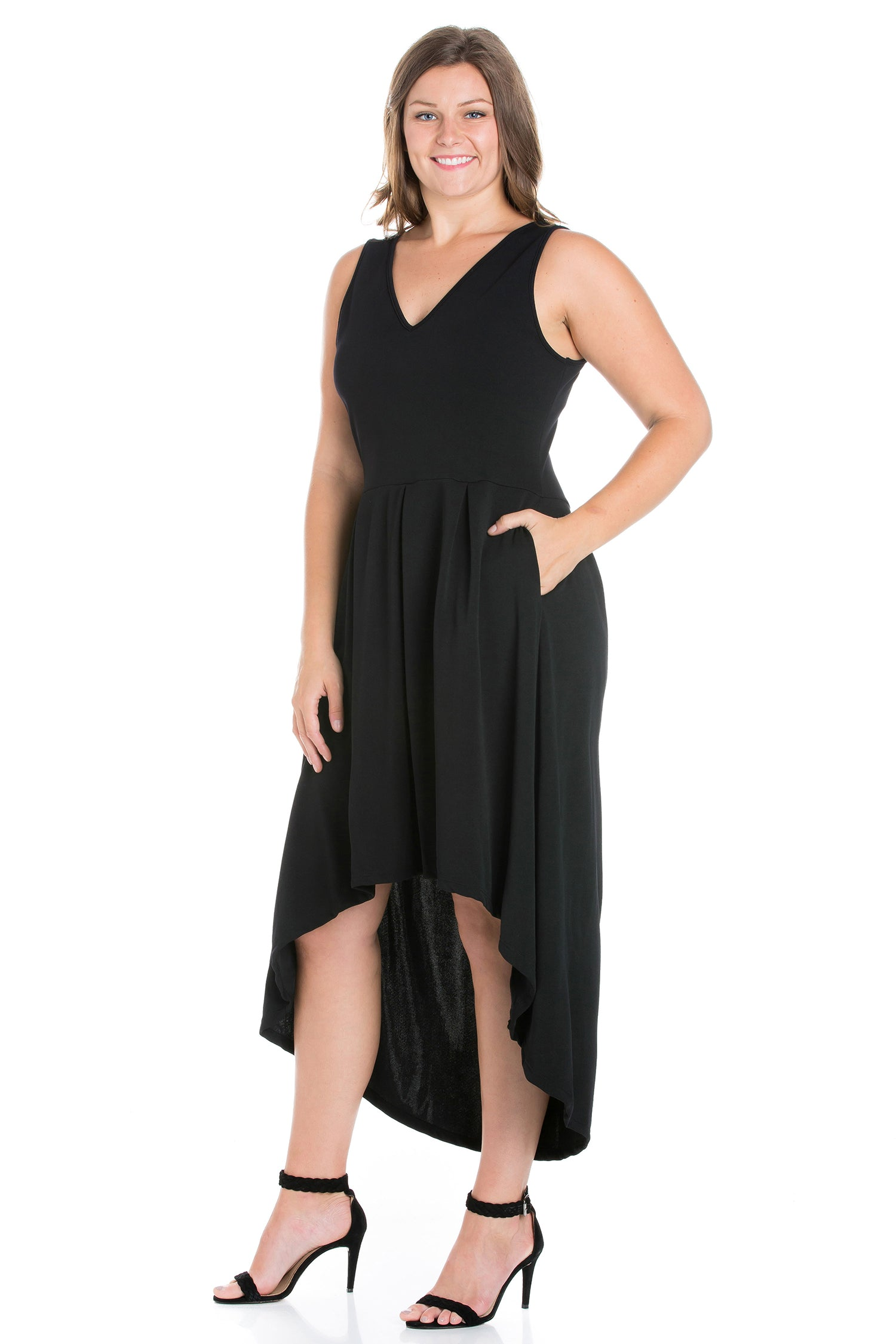 24seven Comfort Apparel High Low Plus Size Party Dress with Pockets-DRESSES-24Seven Comfort Apparel-BLACK-1X-24/7 Comfort Apparel