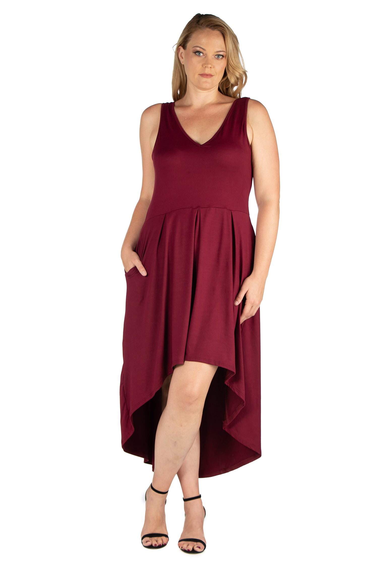 24seven Comfort Apparel High Low Plus Size Party Dress with Pockets-DRESSES-24Seven Comfort Apparel-BURGUNDY-1X-24/7 Comfort Apparel