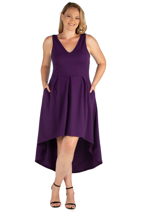 24seven Comfort Apparel High Low Plus Size Party Dress with Pockets-DRESSES-24Seven Comfort Apparel-PURPLE-1X-24/7 Comfort Apparel