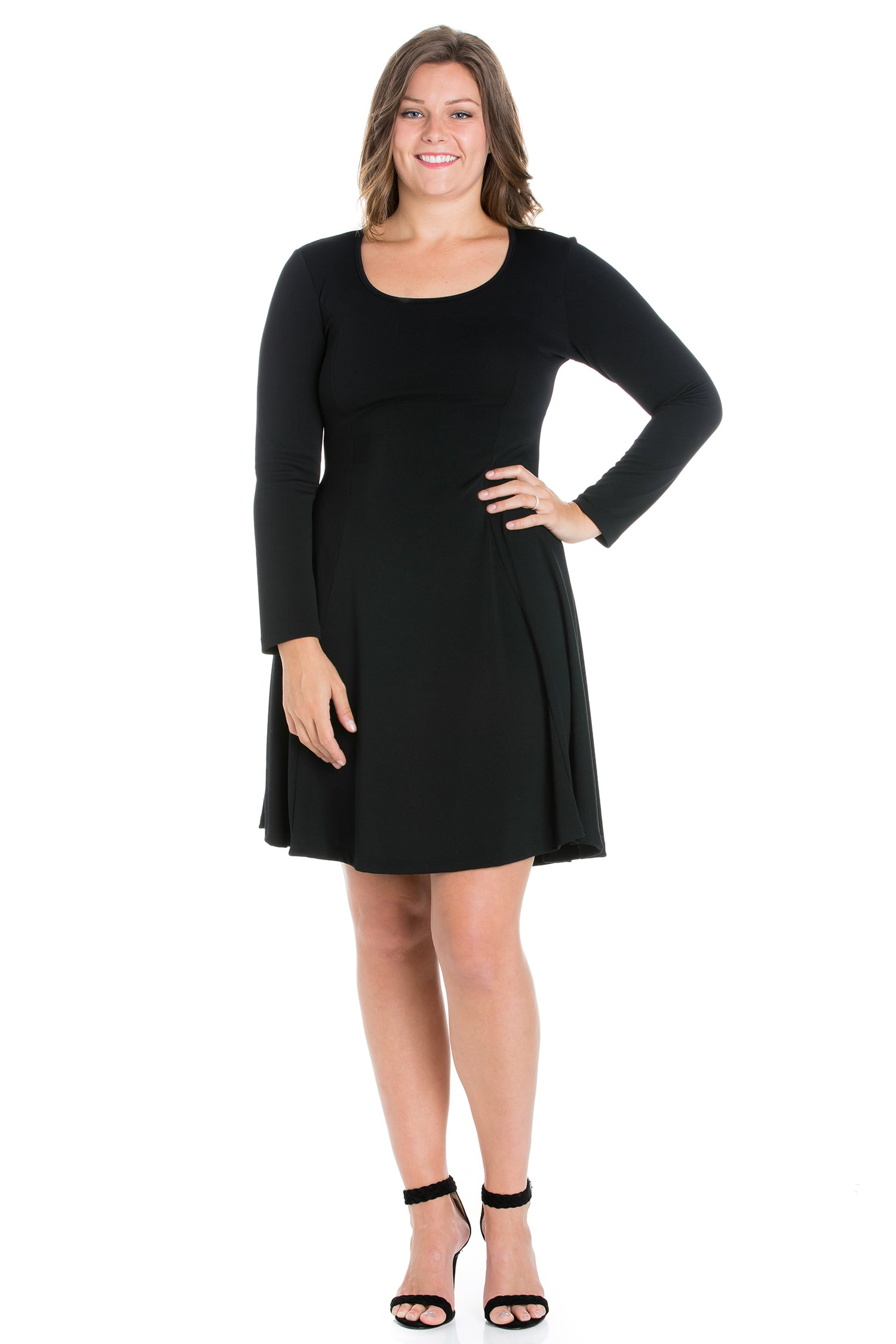 24seven Comfort Apparel Long Sleeve Knee Length Plus Size Skater Dress