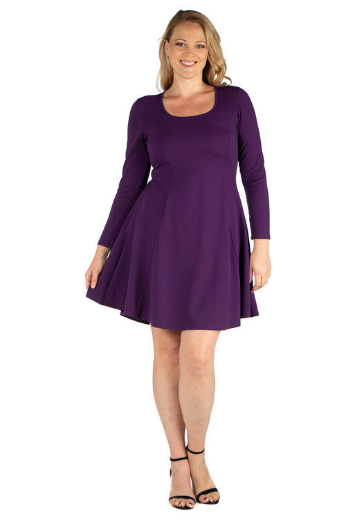 24seven Comfort Apparel Long Sleeve Knee Length Plus Size Skater Dress-DRESSES-24Seven Comfort Apparel-PURPLE-1X-24/7 Comfort Apparel