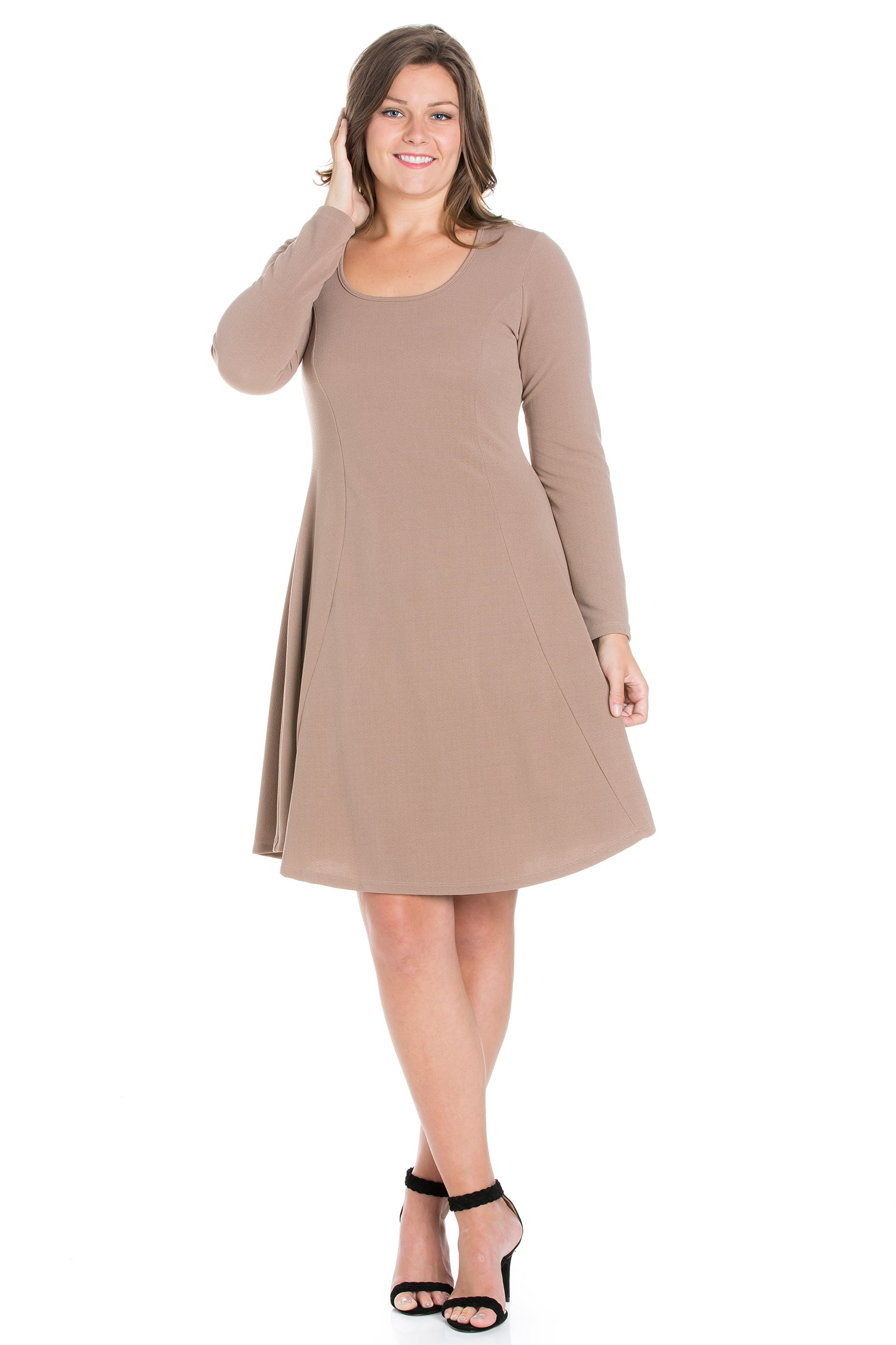 24seven Comfort Apparel Long Sleeve Knee Length Plus Size Skater Dress-DRESSES-24Seven Comfort Apparel-TAUPE-1X-24/7 Comfort Apparel