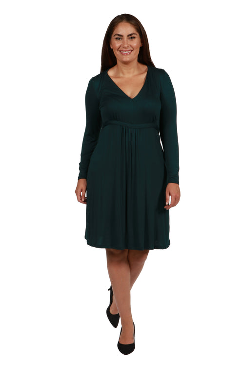 24seven Comfort Apparel Long Sleeve V-Neck Plus Size Cocktail Dress-DRESSES-24Seven Comfort Apparel-HUNTER-1X-24/7 Comfort Apparel