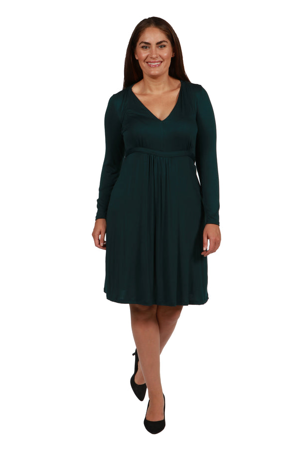 Long Sleeve V-Neck Plus Size Cocktail Dress