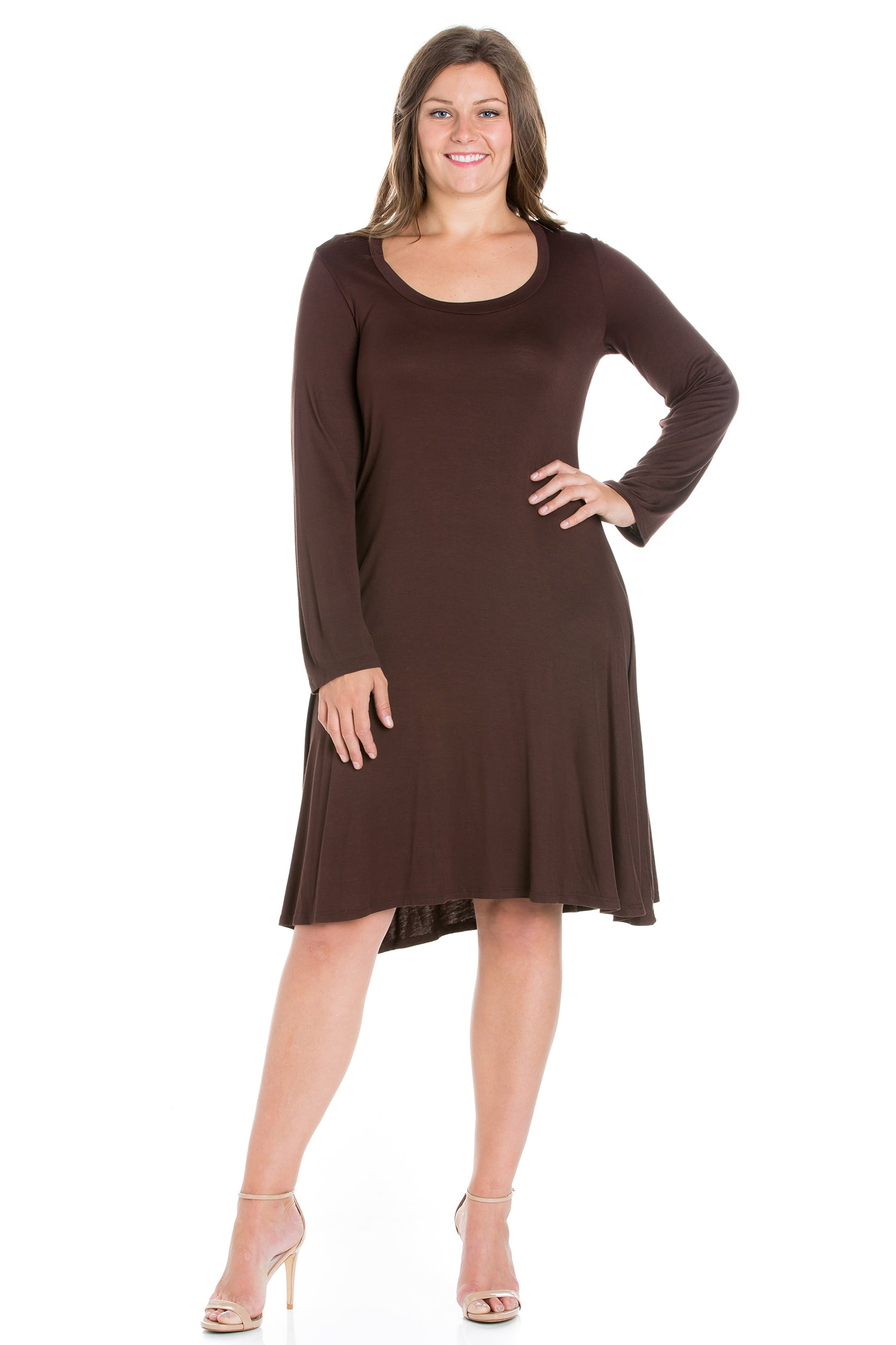 24seven Comfort Apparel Classic Long Sleeve Plus Size Flared Mini Dress-DRESSES-24Seven Comfort Apparel-BROWN-1X-24/7 Comfort Apparel