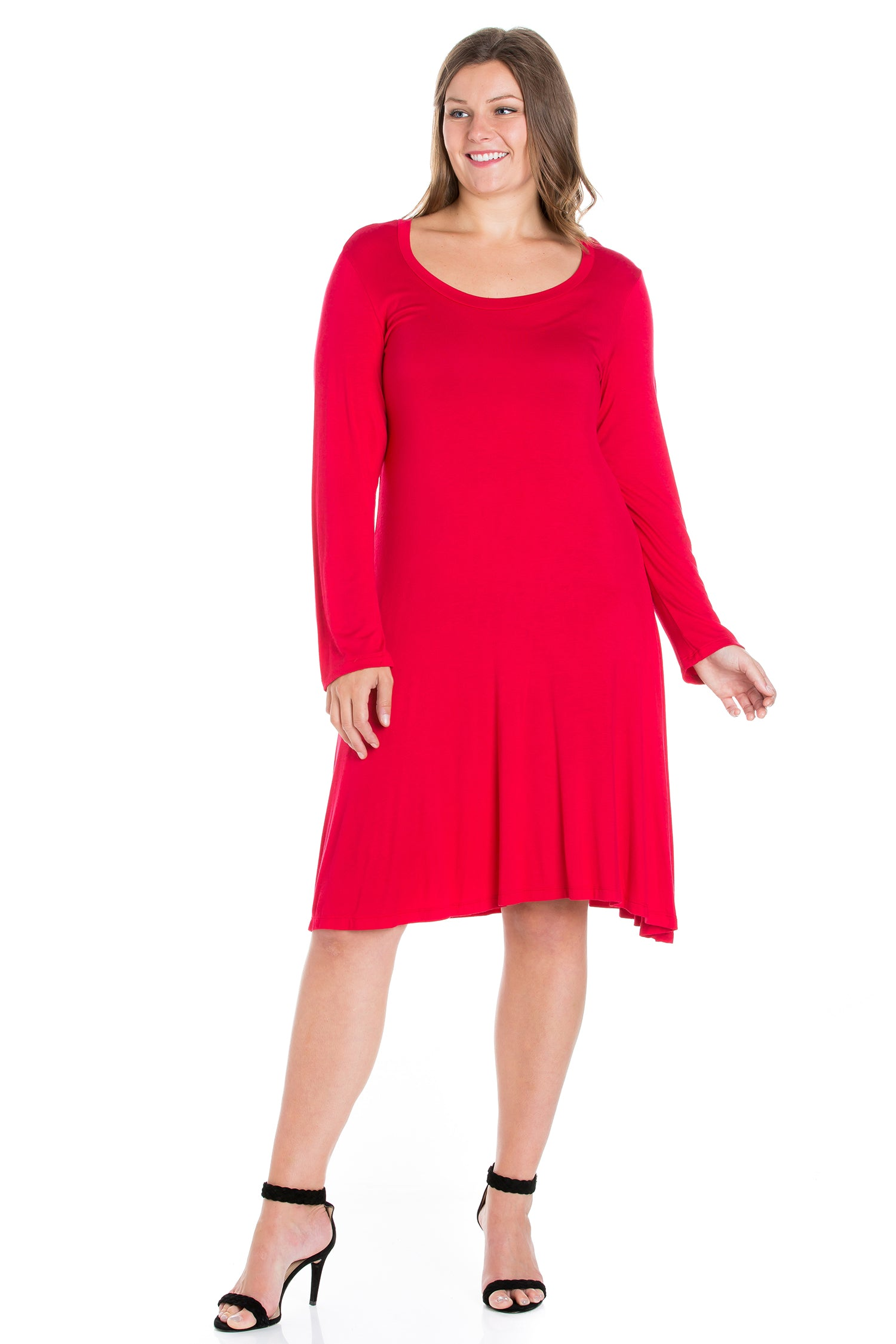 24seven Comfort Apparel Classic Long Sleeve Plus Size Flared Mini Dress-DRESSES-24Seven Comfort Apparel-RED-1X-24/7 Comfort Apparel