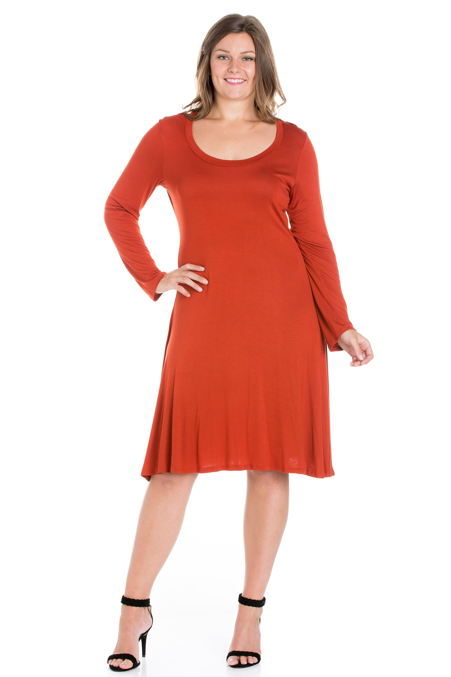 24seven Comfort Apparel Classic Long Sleeve Plus Size Flared Mini Dress-DRESSES-24Seven Comfort Apparel-RUST-1X-24/7 Comfort Apparel