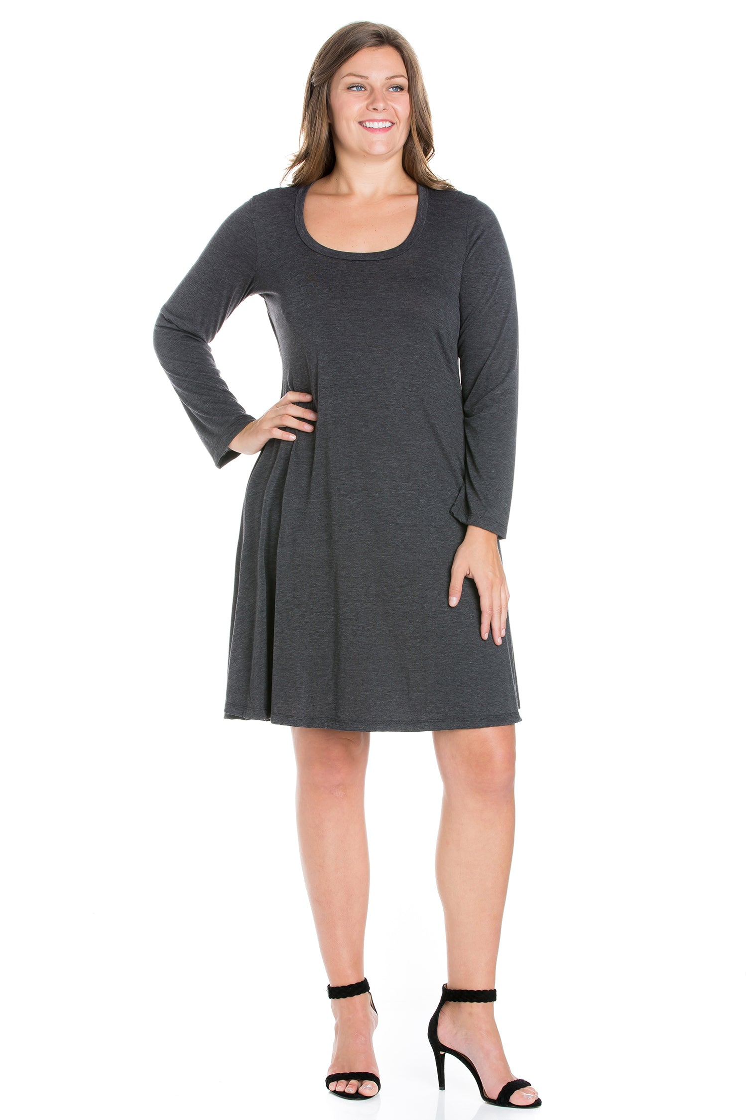 24seven Comfort Apparel Classic Long Sleeve Plus Size Flared Mini Dress-DRESSES-24Seven Comfort Apparel-BLACK-1X-24/7 Comfort Apparel
