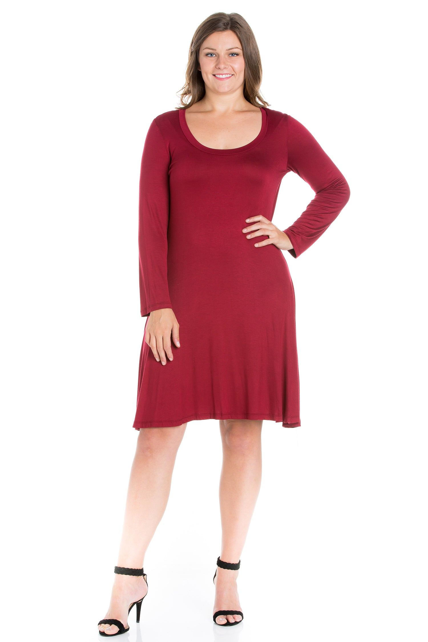 24seven Comfort Apparel Classic Long Sleeve Plus Size Flared Mini Dress-DRESSES-24Seven Comfort Apparel-WINE-1X-24/7 Comfort Apparel