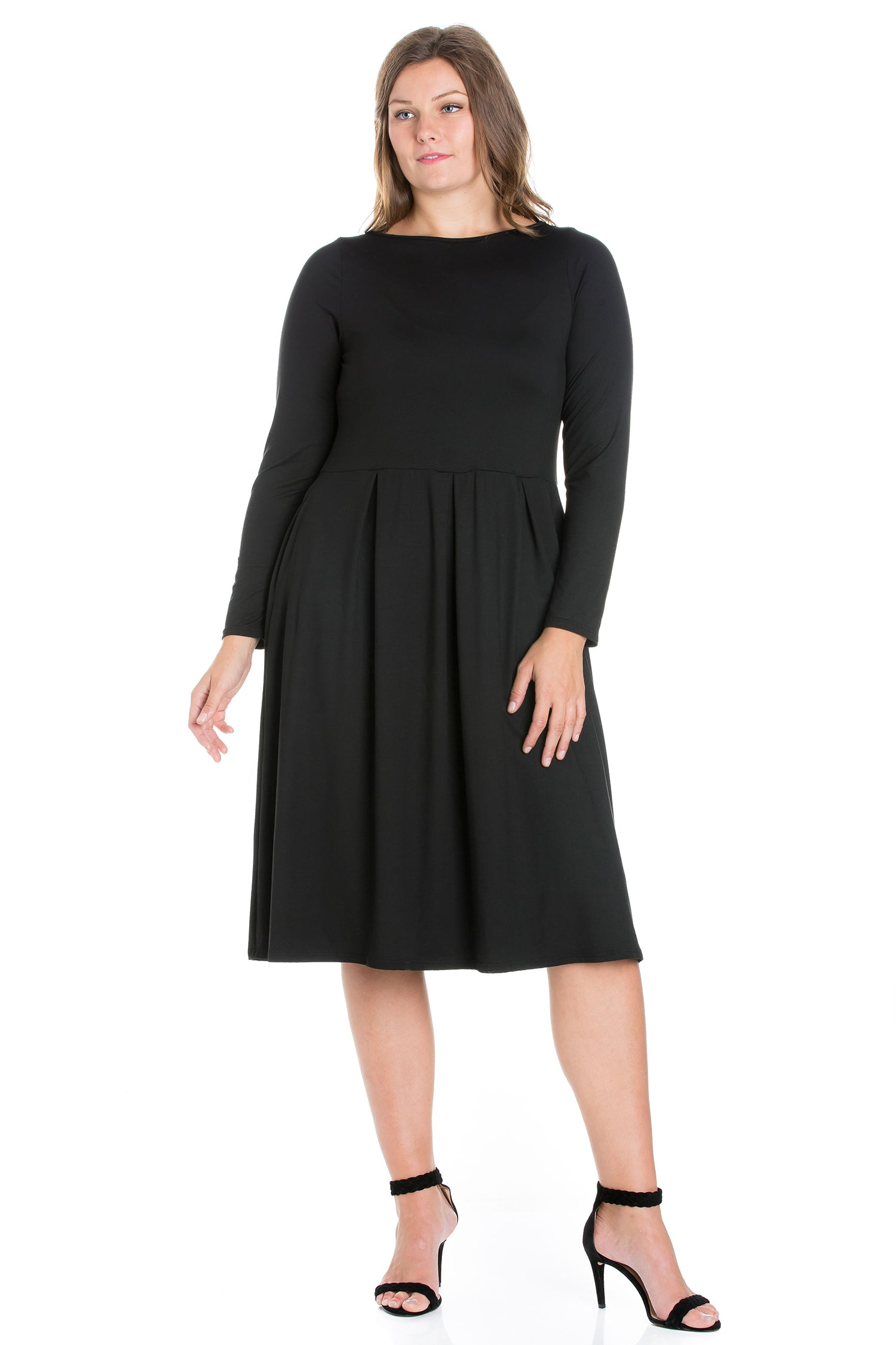24seven Comfort Apparel Long Sleeve Fit and Flare Plus Size Midi Dress-DRESSES-24Seven Comfort Apparel-BLACK-1X-24/7 Comfort Apparel