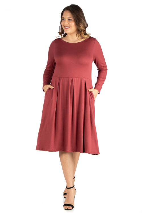 24seven Comfort Apparel Long Sleeve Fit and Flare Plus Size Midi Dress-DRESSES-24Seven Comfort Apparel-BRICK-1X-24/7 Comfort Apparel