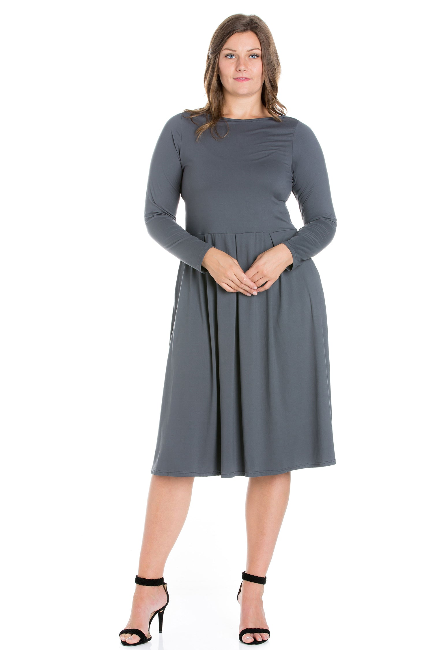24seven Comfort Apparel Long Sleeve Fit and Flare Plus Size Midi Dress-DRESSES-24Seven Comfort Apparel-GREY-1X-24/7 Comfort Apparel