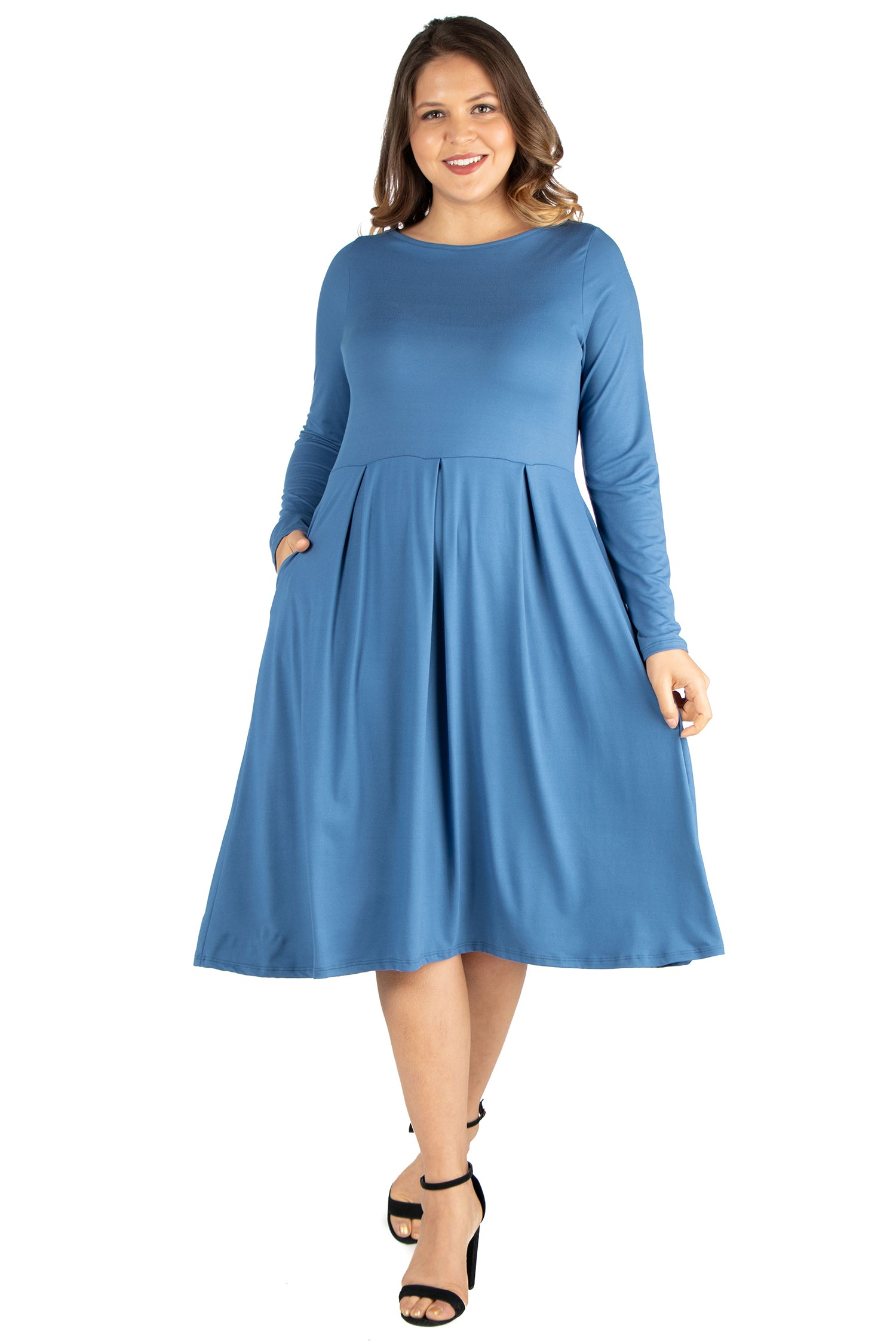 24seven Comfort Apparel Long Sleeve Fit and Flare Plus Size Midi Dress-DRESSES-24Seven Comfort Apparel-INDIGO-1X-24/7 Comfort Apparel