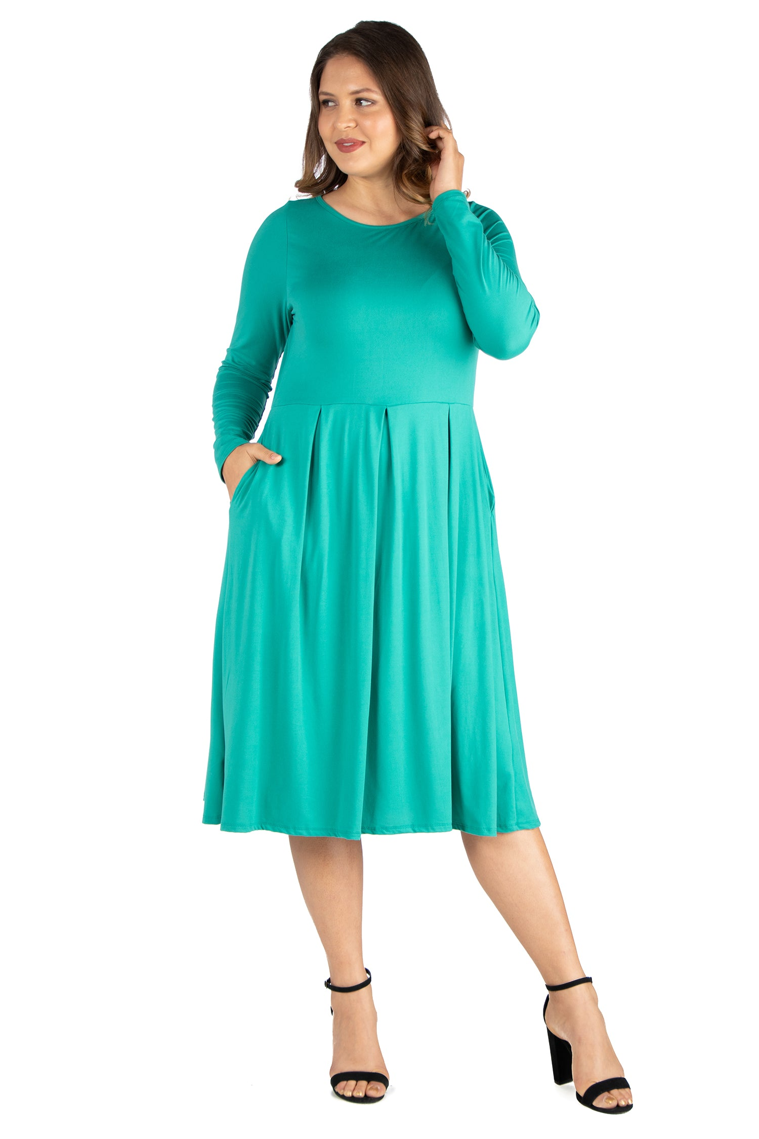 24seven Comfort Apparel Long Sleeve Fit and Flare Plus Size Midi Dress-DRESSES-24Seven Comfort Apparel-JADE-1X-24/7 Comfort Apparel