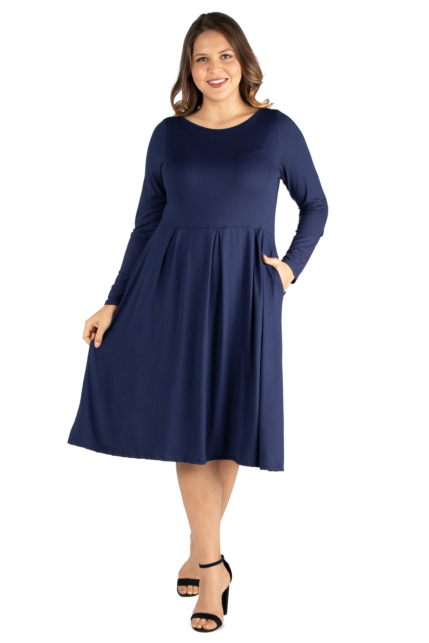 24seven Comfort Apparel Long Sleeve Fit and Flare Plus Size Midi Dress-Dresses-24Seven Comfort Apparel-NAVY-1X-24/7 Comfort Apparel