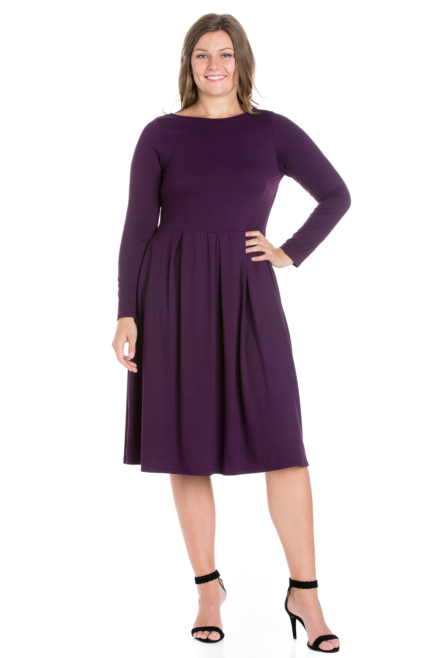 24seven Comfort Apparel Long Sleeve Fit and Flare Plus Size Midi Dress-DRESSES-24Seven Comfort Apparel-PURPLE-1X-24/7 Comfort Apparel