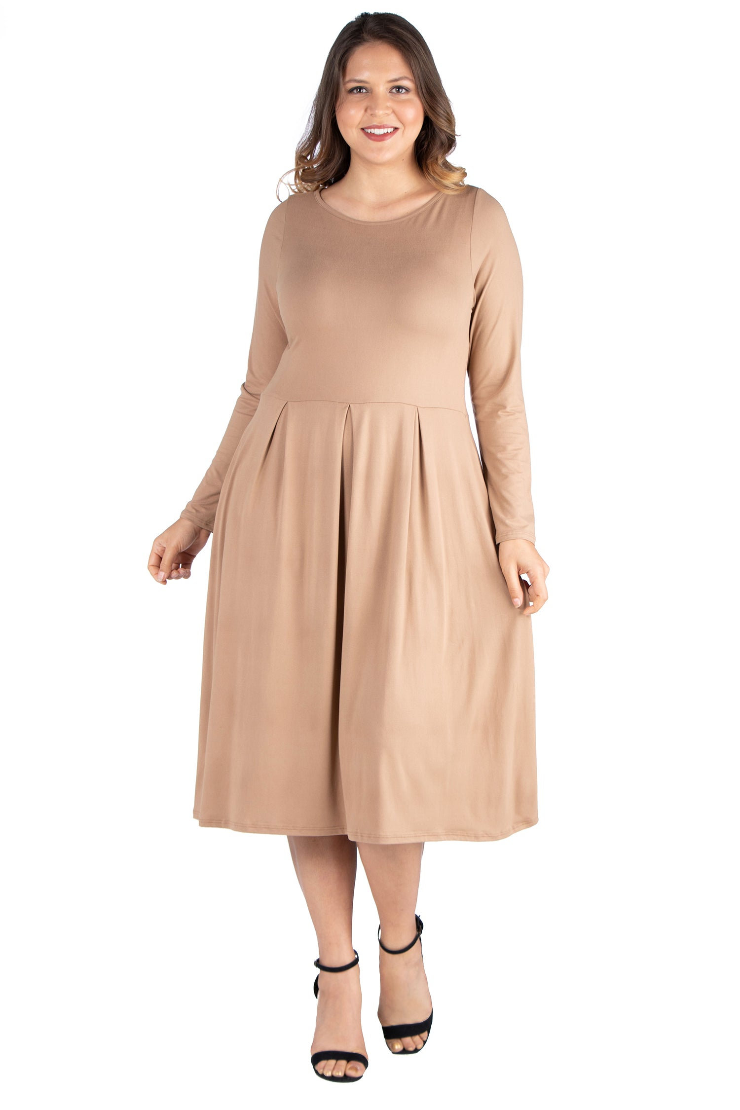 24seven Comfort Apparel Long Sleeve Fit and Flare Plus Size Midi Dress-DRESSES-24Seven Comfort Apparel-WHEAT-1X-24/7 Comfort Apparel