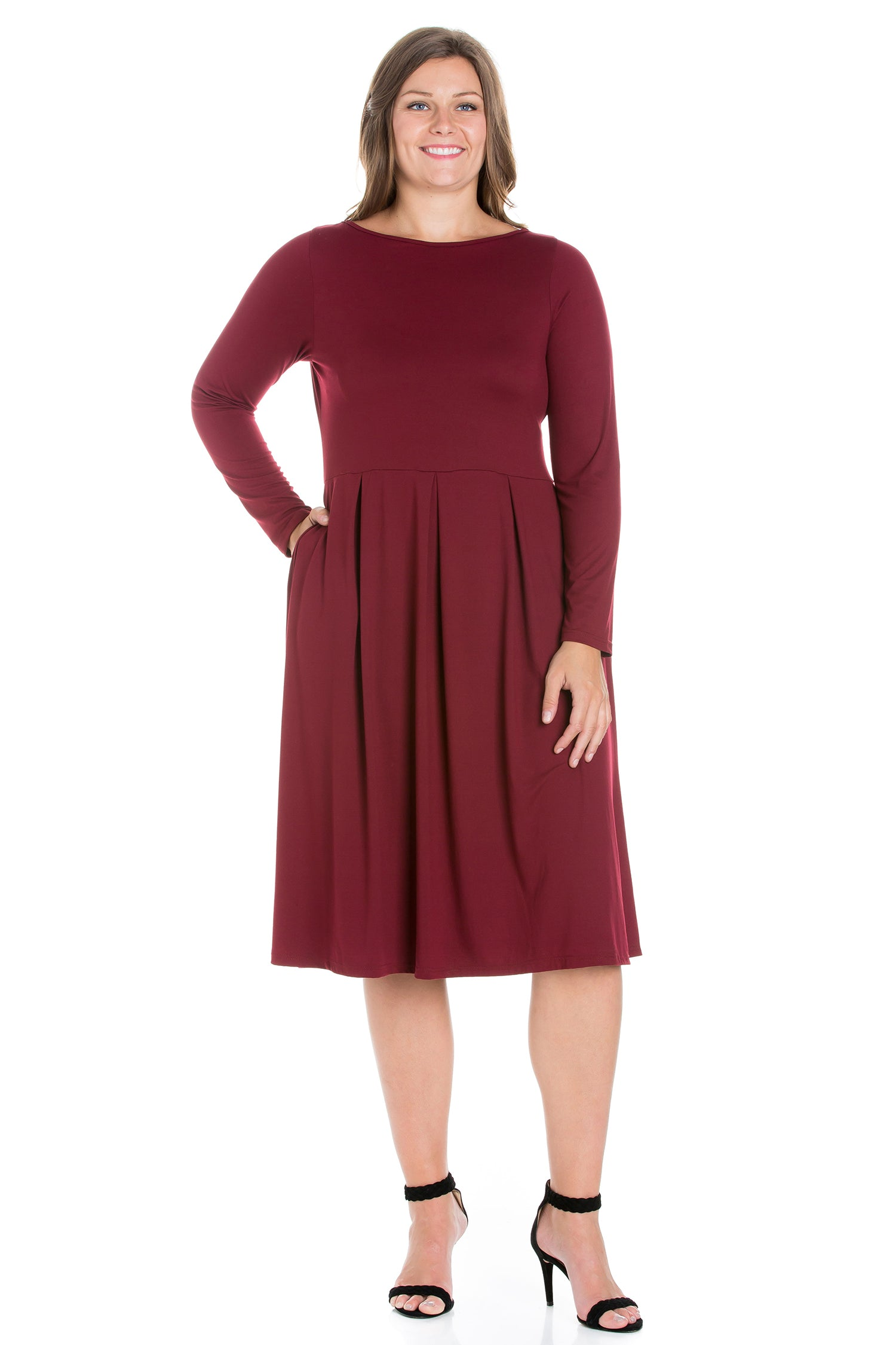 24seven Comfort Apparel Long Sleeve Fit and Flare Plus Size Midi Dress-DRESSES-24Seven Comfort Apparel-WINE-1X-24/7 Comfort Apparel
