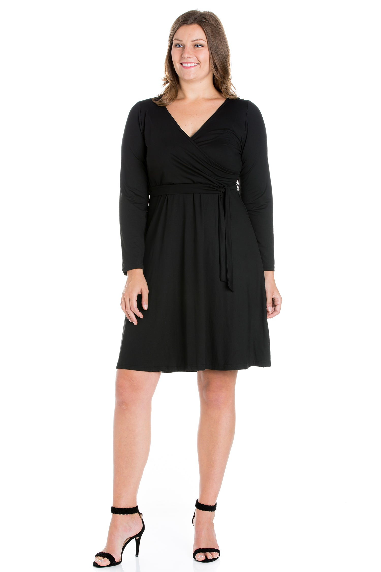 24seven Comfort Apparel Chic V-Neck Long Sleeve Belted Plus Size Dress-DRESSES-24Seven Comfort Apparel-BLACK-1X-24/7 Comfort Apparel