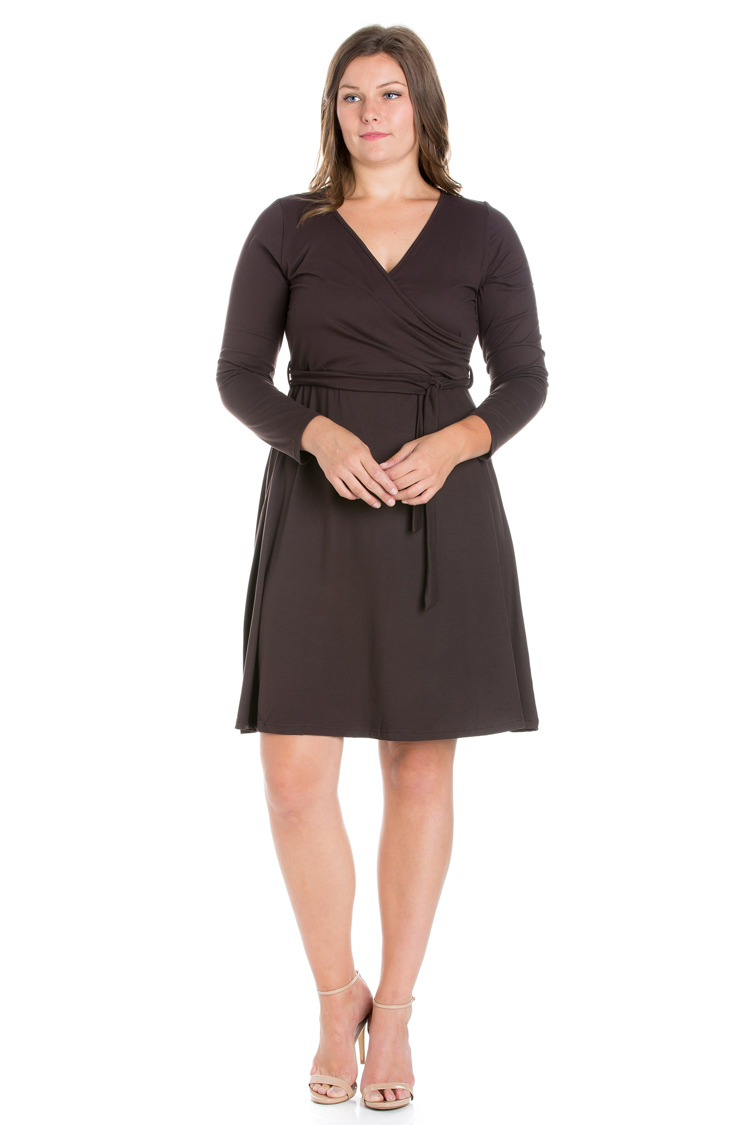 24seven Comfort Apparel Chic V-Neck Long Sleeve Belted Plus Size Dress-DRESSES-24Seven Comfort Apparel-BROWN-1X-24/7 Comfort Apparel