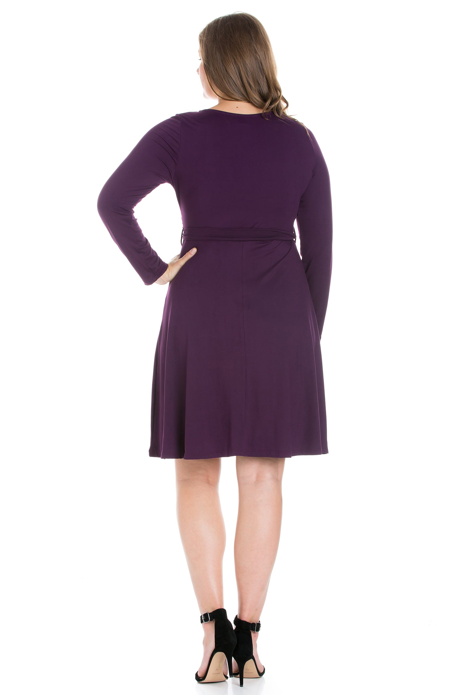 24seven Comfort Apparel Chic V-Neck Long Sleeve Belted Plus Size Dress