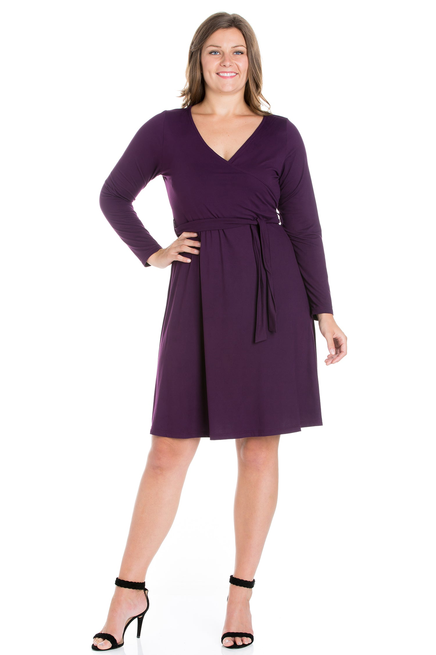 24seven Comfort Apparel Chic V-Neck Long Sleeve Belted Plus Size Dress-DRESSES-24Seven Comfort Apparel-PURPLE-1X-24/7 Comfort Apparel