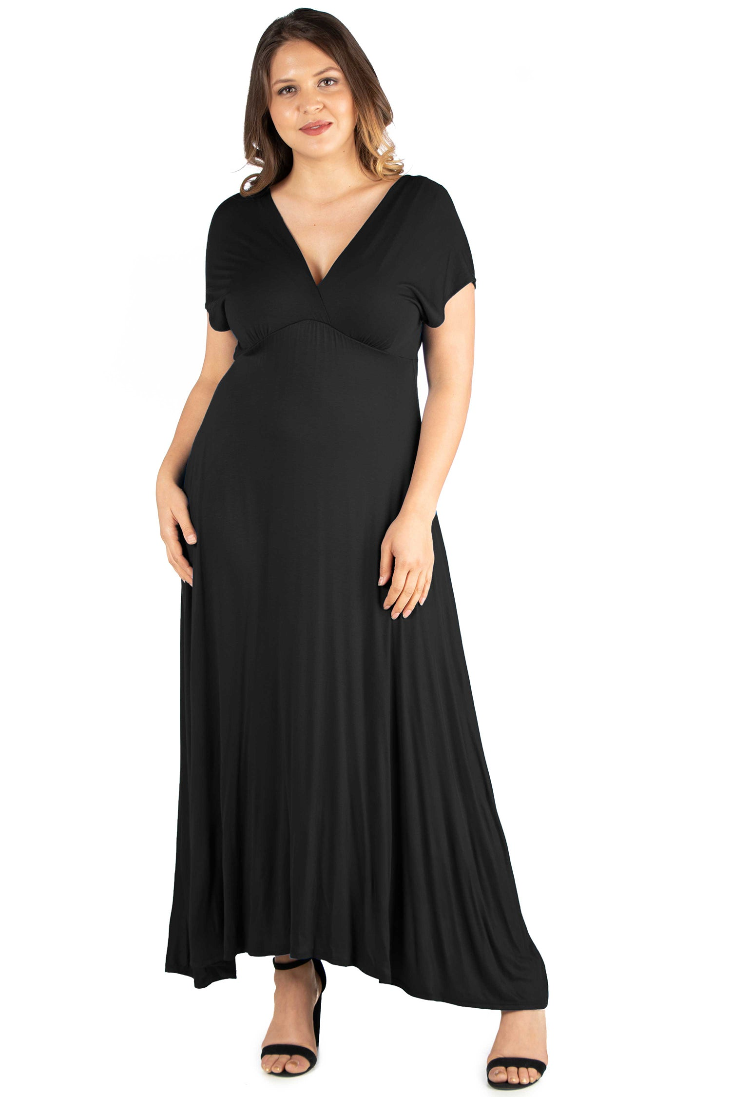 24seven Comfort Apparel Empire Waist V Neck Plus Size Maxi Dress-DRESSES-24Seven Comfort Apparel-BLACK-1X-24/7 Comfort Apparel