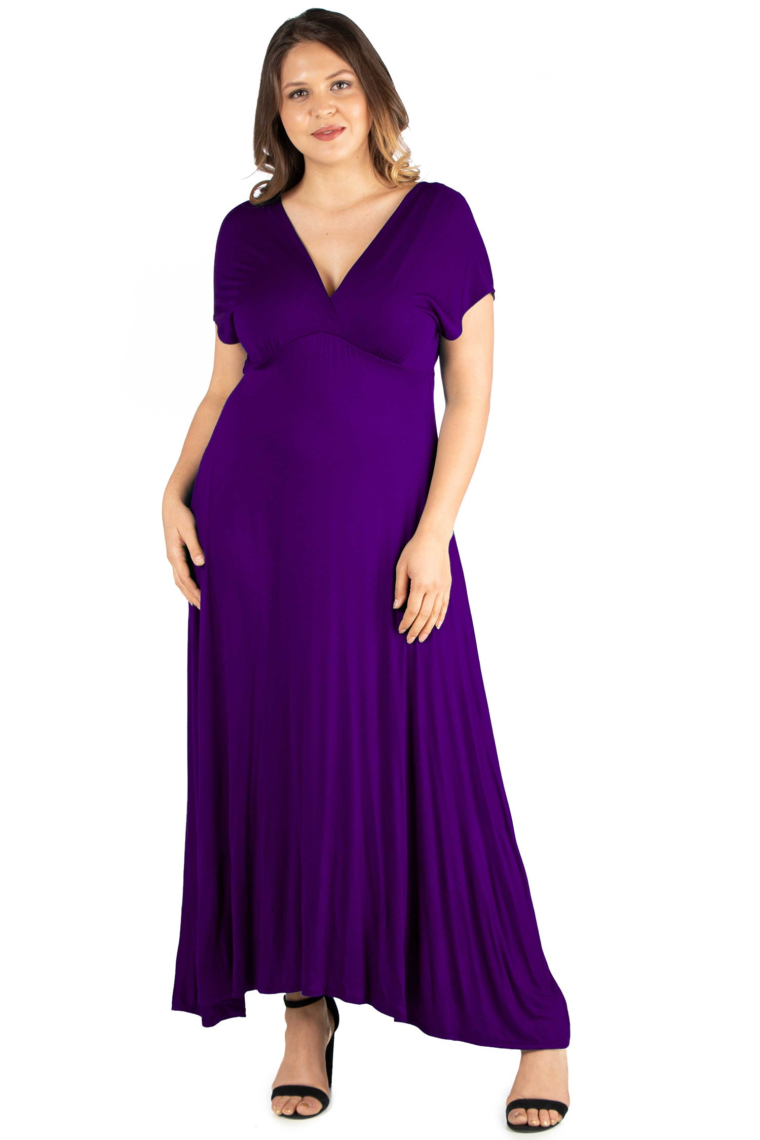 24seven Comfort Apparel Empire Waist V Neck Plus Size Maxi Dress-DRESSES-24Seven Comfort Apparel-PURPLE-1X-24/7 Comfort Apparel