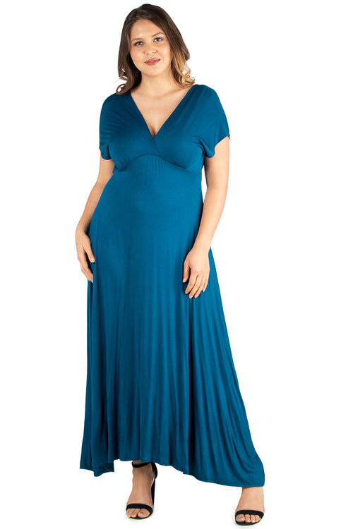 24seven Comfort Apparel Empire Waist V Neck Plus Size Maxi Dress-DRESSES-24Seven Comfort Apparel-TEAL-1X-24/7 Comfort Apparel