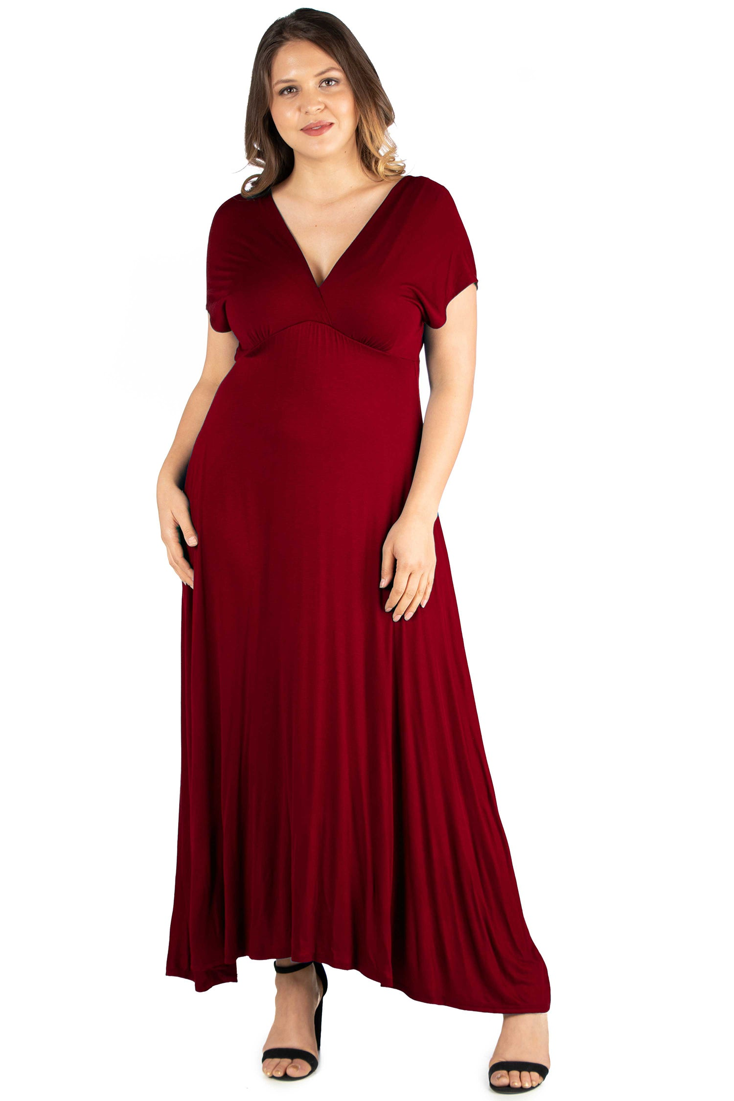 24seven Comfort Apparel Empire Waist V Neck Plus Size Maxi Dress-DRESSES-24Seven Comfort Apparel-WINE-1X-24/7 Comfort Apparel