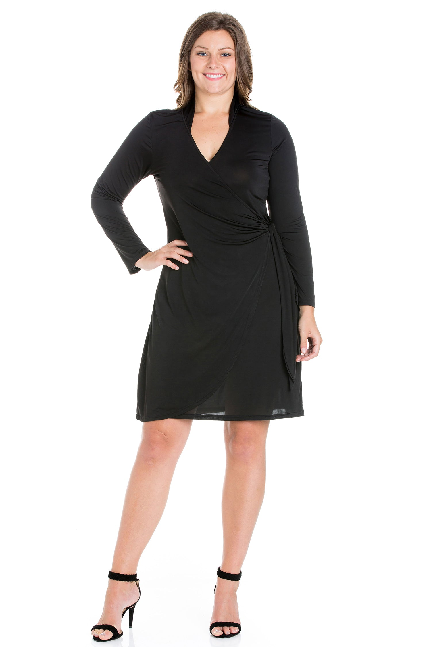 24seven Comfort Apparel Plus Size Long Sleeve V Neck Mini Wrap Dress-DRESSES-24Seven Comfort Apparel-BLACK-1X-24/7 Comfort Apparel