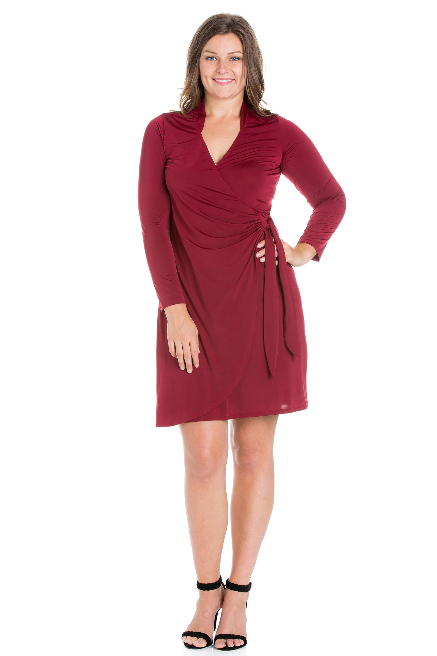 24seven Comfort Apparel Plus Size Long Sleeve V Neck Mini Wrap Dress-DRESSES-24Seven Comfort Apparel-BURGUNDY-1X-24/7 Comfort Apparel