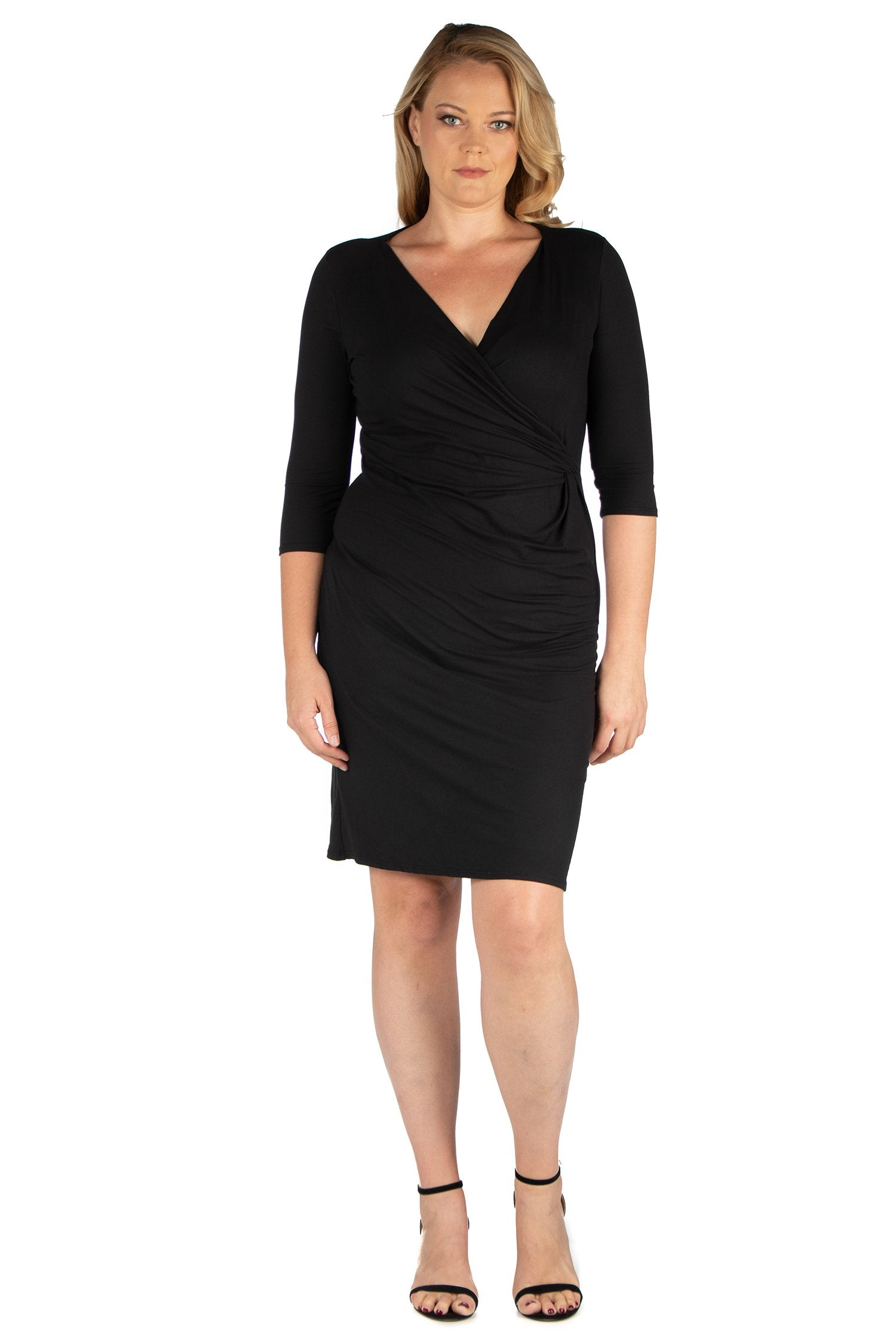 24seven Comfort Apparel Knee Length V Neck Plus Size Dress-DRESSES-24Seven Comfort Apparel-BLACK-1X-24/7 Comfort Apparel