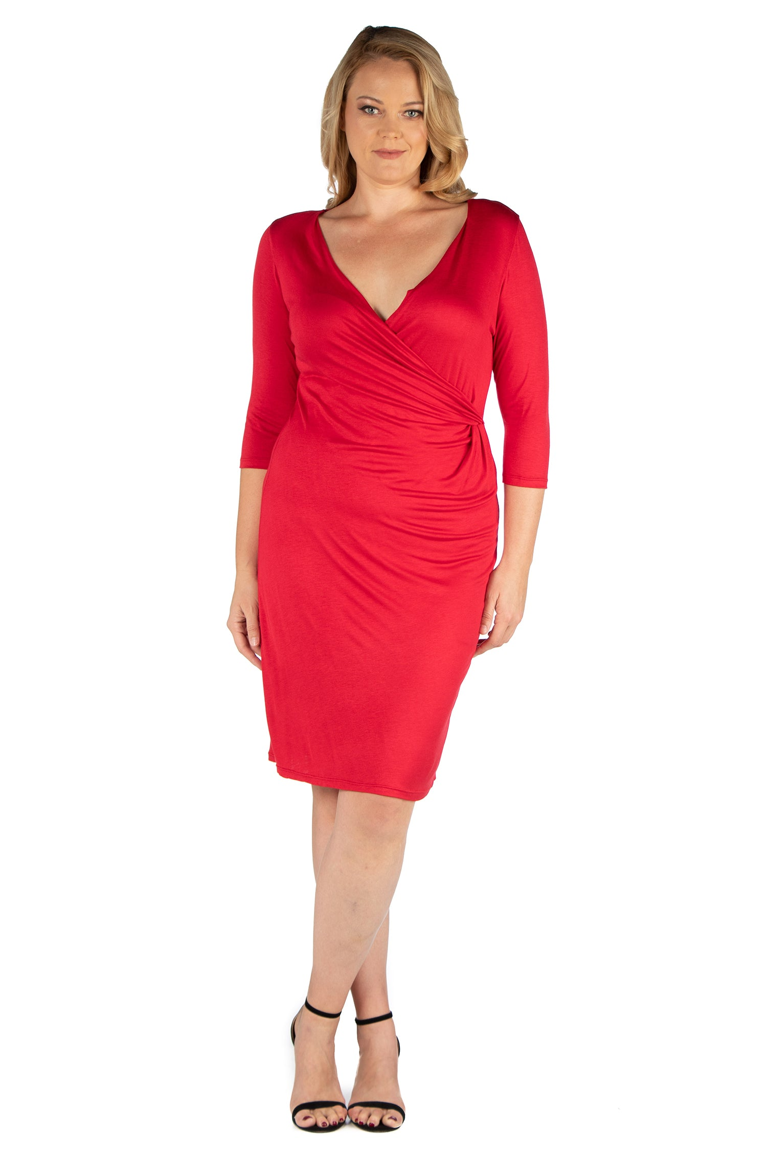 24seven Comfort Apparel Knee Length V Neck Plus Size Dress-DRESSES-24Seven Comfort Apparel-RED-1X-24/7 Comfort Apparel