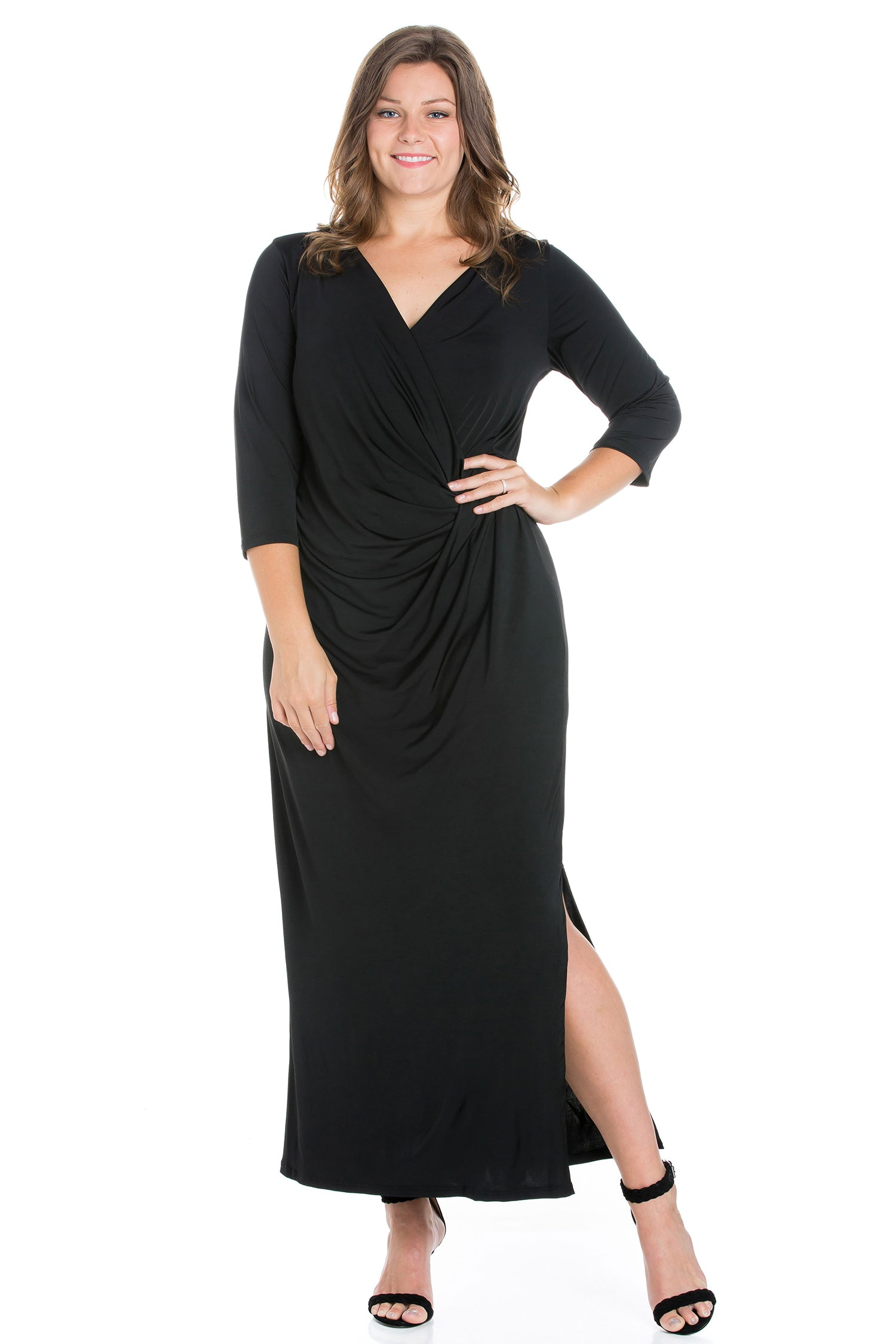 24seven Comfort Appare Fitted V-Neck Side Slit Plus Size Maxi Dress-DRESSES-24Seven Comfort Apparel-BLACK-1X-24/7 Comfort Apparel