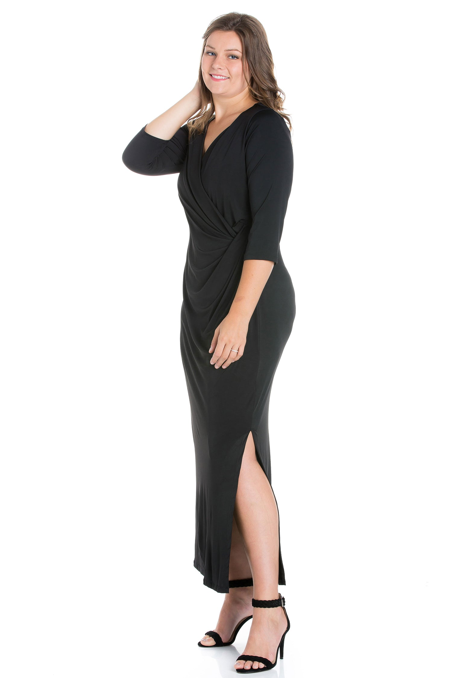 24seven Comfort Appare Fitted V-Neck Side Slit Plus Size Maxi Dress