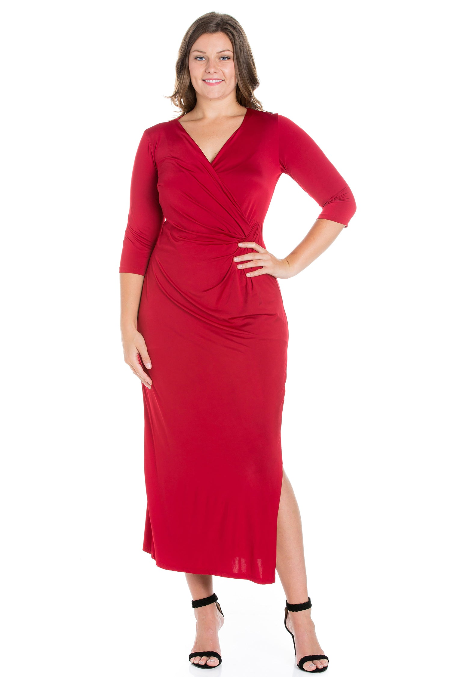 24seven Comfort Appare Fitted V-Neck Side Slit Plus Size Maxi Dress-DRESSES-24Seven Comfort Apparel-BURGUNDY-1X-24/7 Comfort Apparel