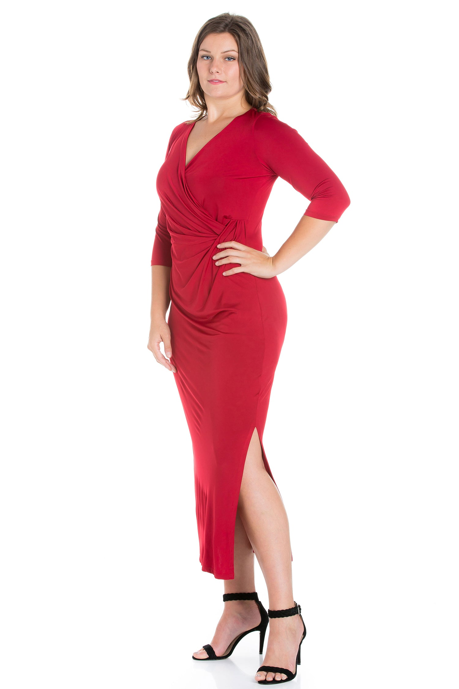 24seven Comfort Appare Fitted V-Neck Side Slit Plus Size Maxi Dress-DRESSES-24Seven Comfort Apparel-PRINT-1X-24/7 Comfort Apparel