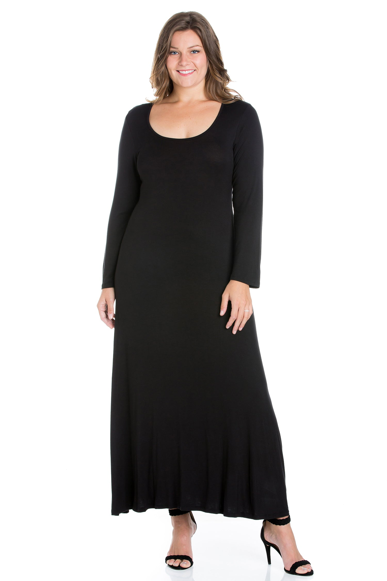 24seven Comfort Apparel Womens Long Sleeve Plus Size Maxi Dress-DRESSES-24Seven Comfort Apparel-BLACK-1X-24/7 Comfort Apparel