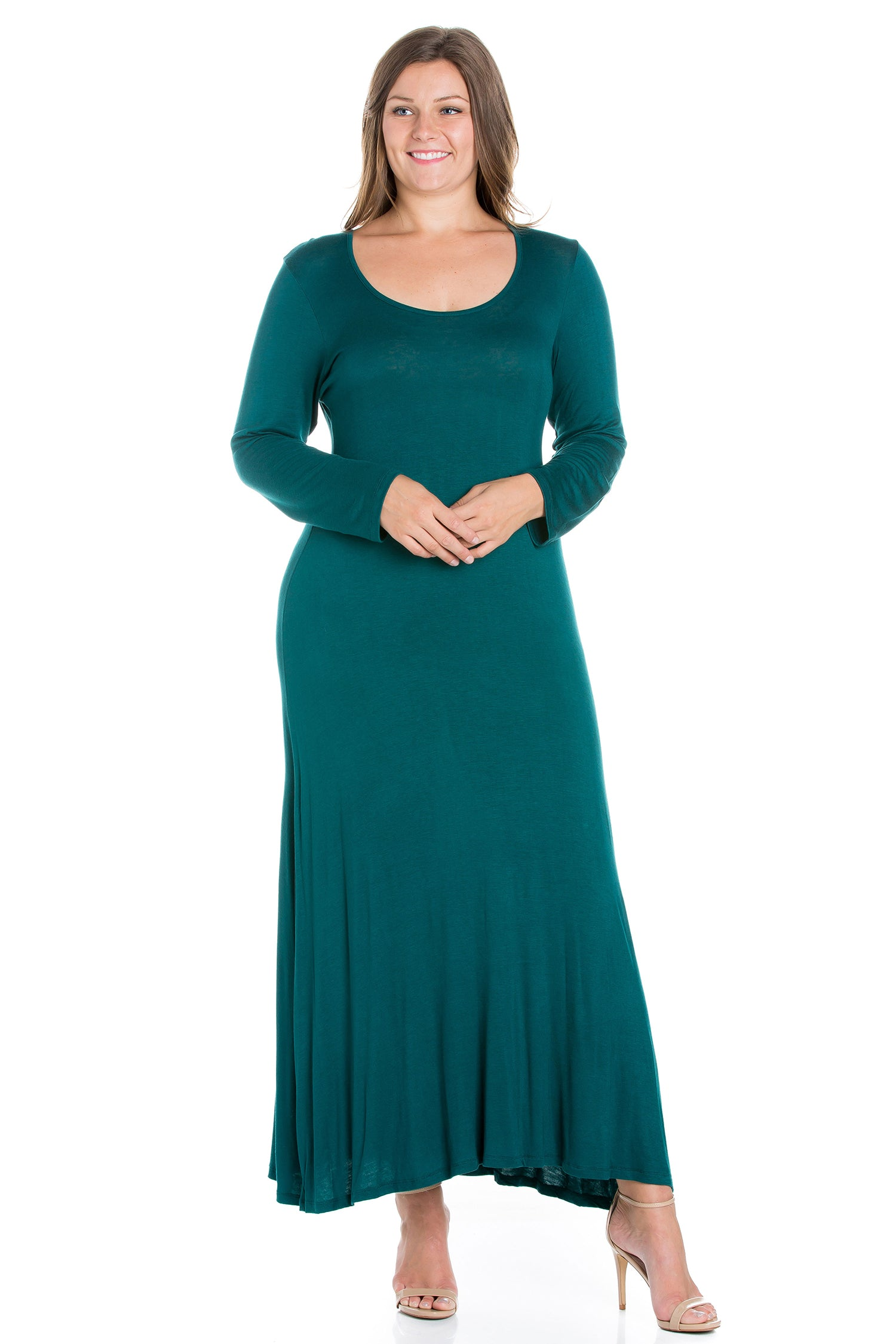 24seven Comfort Apparel Womens Long Sleeve Plus Size Maxi Dress-DRESSES-24Seven Comfort Apparel-FOREST-1X-24/7 Comfort Apparel