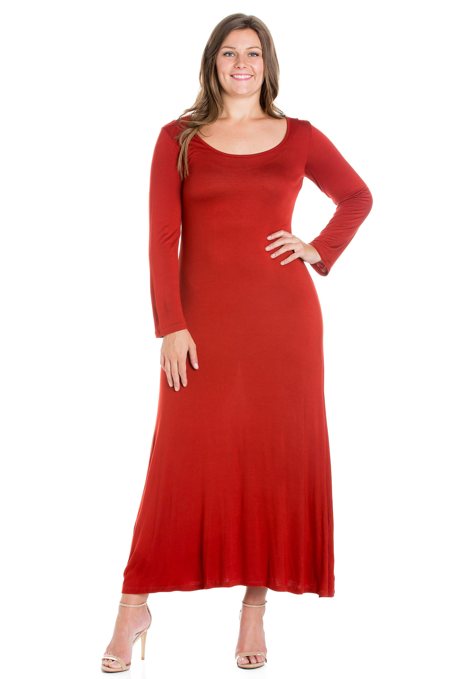 24seven Comfort Apparel Womens Long Sleeve Plus Size Maxi Dress-DRESSES-24Seven Comfort Apparel-PENNY-1X-24/7 Comfort Apparel