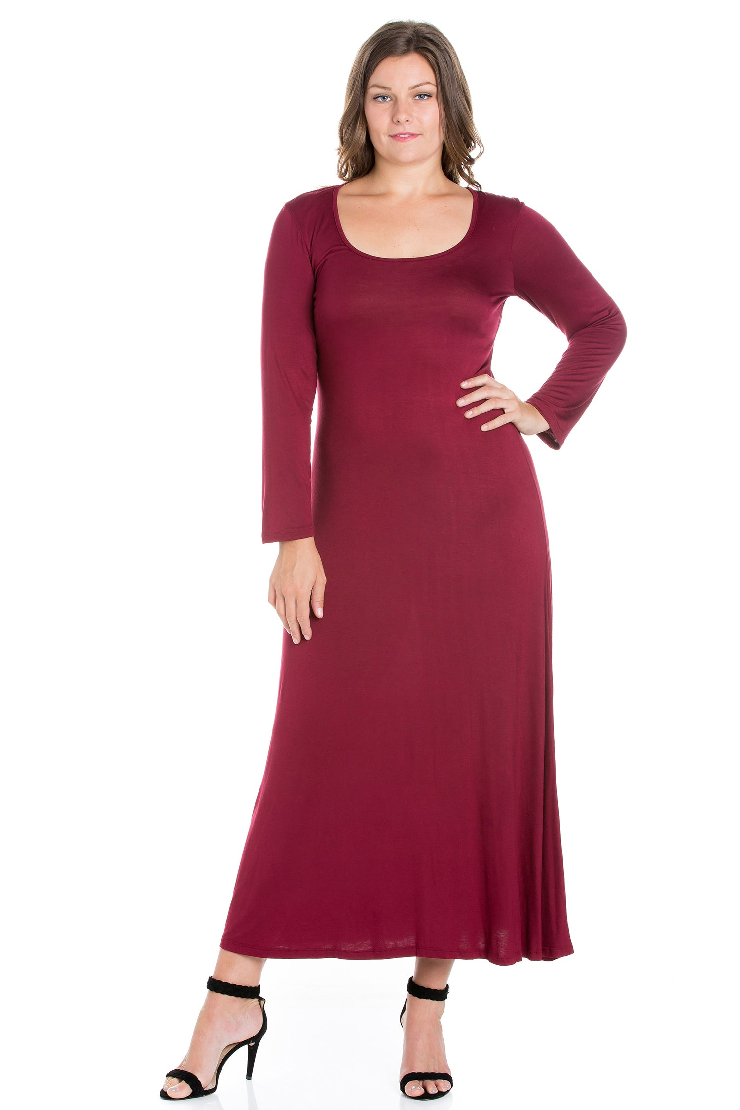 24seven Comfort Apparel Womens Long Sleeve Plus Size Maxi Dress-DRESSES-24Seven Comfort Apparel-WINE-1X-24/7 Comfort Apparel