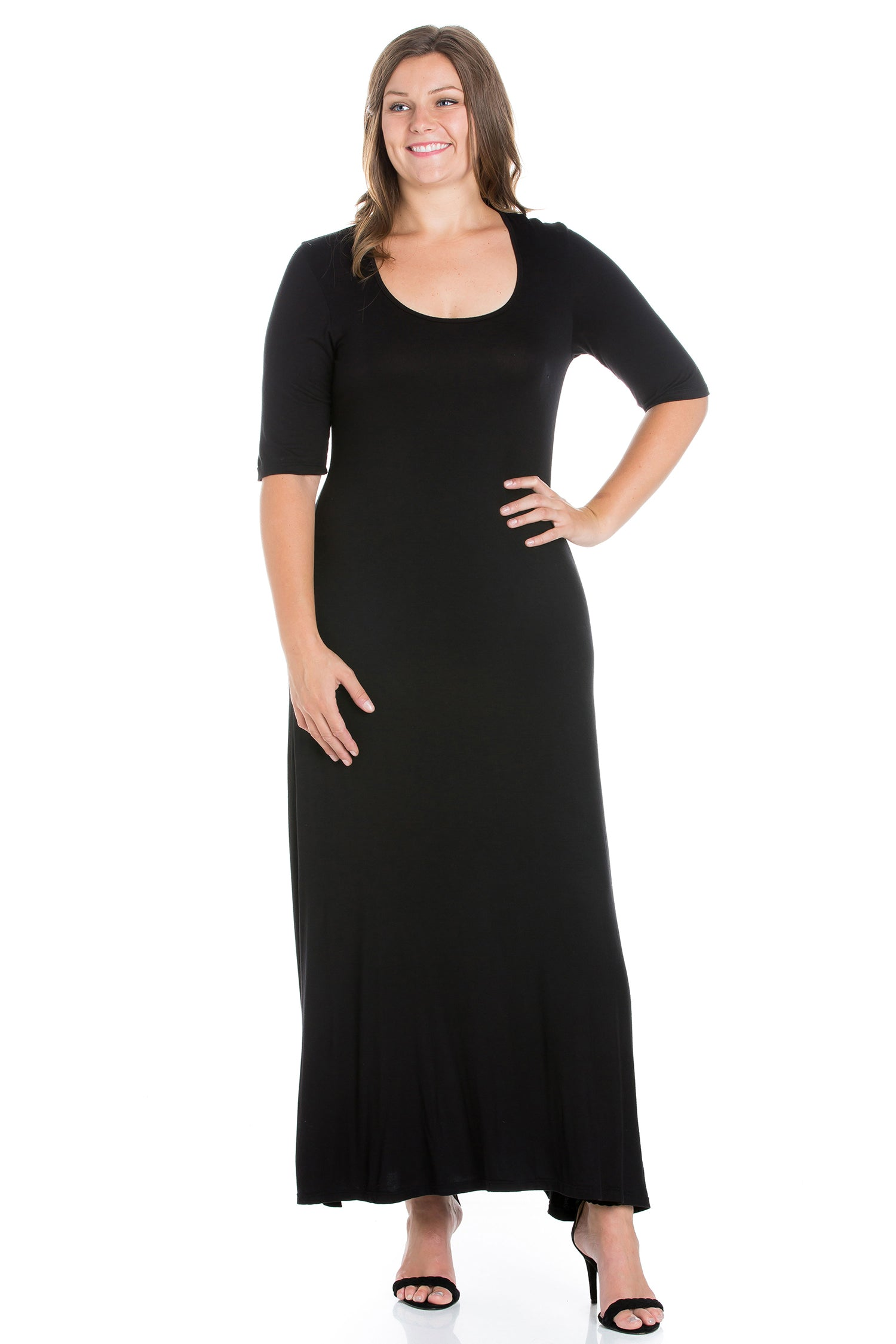 24seven Comfort Apparel Elbow Length Sleeve Plus Size Maxi Dress-DRESSES-24Seven Comfort Apparel-BLACK-1X-24/7 Comfort Apparel