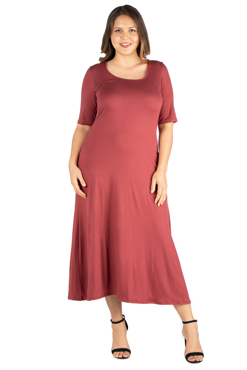 24seven Comfort Apparel Elbow Length Sleeve Plus Size Maxi Dress-DRESSES-24Seven Comfort Apparel-BRICK-2X-24/7 Comfort Apparel